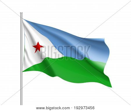 Waving flag Republic of Djibouti. Patriotic sign african country in official djiboutian colors and proportion correctly. Patriotic sign Eastern Africa state Vector icon illustration