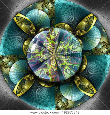 3D render of colorful plastic fractal flower disc embossed on leather with glossy fractal button