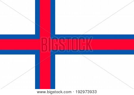 The Faroe Islands, the Faeroes flag, blue-fimbriated red Nordic cross on a white field, national flag and civil ensign. Vector flat style illustration