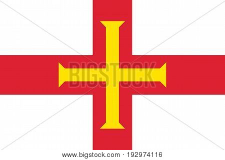 Guernsey, island in the English Channel, civil and state flag, bright red and gold cross within it on white background. Vector flat style illustration