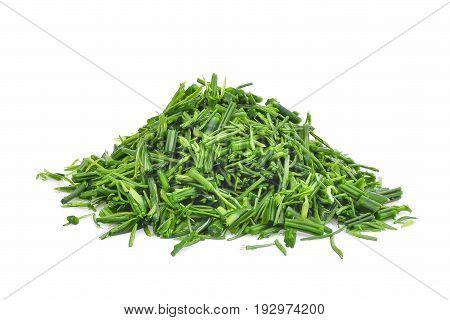 pile of slice green senegalia pennata leaf or or cha om isolated on white background