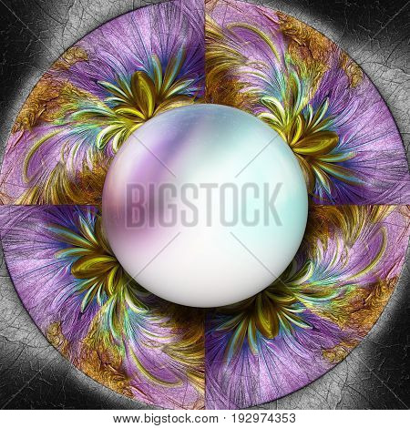 3D render of colorful plastic fractal flower disc embossed on leather with glossy purple white gradient button