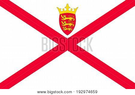 Jersey national flag, island, dependency of the United Kingdom, red saltire on a white field, surmounted by a yellow crown, and the badge. Vector flat style illustration