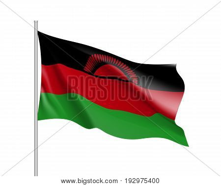 Waving flag of Malawi. Symbol african state in proportion correctly and official colors and sun. Patriotic sign East Africa country. Vector icon illustration