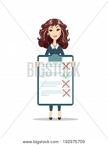 Businesswoman with a clipboard with green tick and red crosses. Flat design clip board and check marks