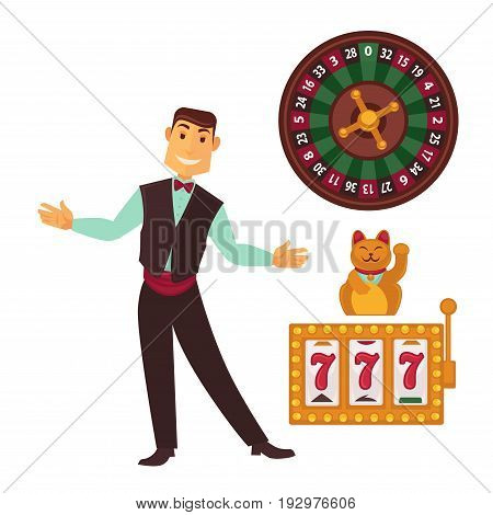 Casino gaming template vector colorful poster with symbols and smiling man isolated on white. Slot machine with lucky sevens jackpot, play-roulette and male worker or gambling establishment.