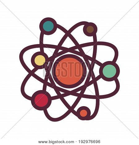 Colorful atom isolated on white vector graphic illustration in flat design. Chemical construction consisting of many molecules on round orbits. Schematic molecular structure of any living being