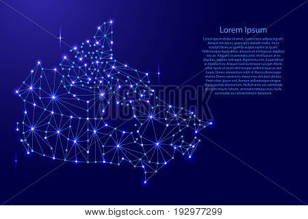Canada map of polygonal mosaic lines network rays and space stars of vector illustration.