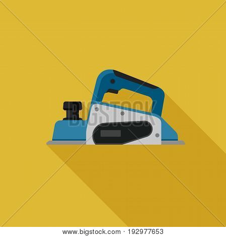 PLaner flat icon with long shadow. Vector illustration of electric tool.