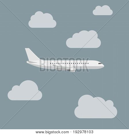 Plane with clouds in flat style. Vector side view of airplanes.