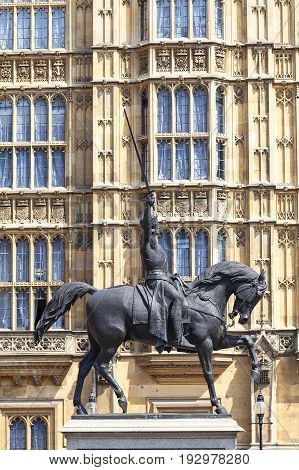 Monument to King Richard I Lionheart on horse Palace of Westminster LondonUnited Kingdom England. The Palace lies on the north bank of the River Thames in the City of Westminster in central London
