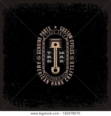 Template design label with piston and chains in trendy linear style on grunge black background. Vector illustration.