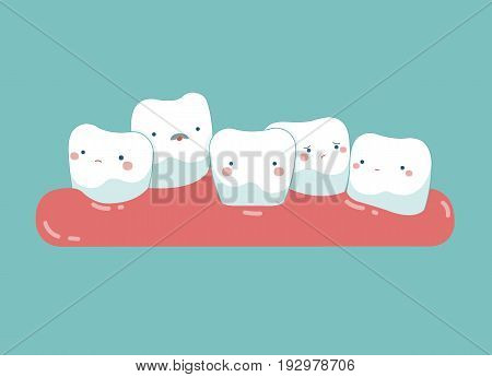 Tooth growing in front or behind another tooth ,teeth and tooth concept of dental