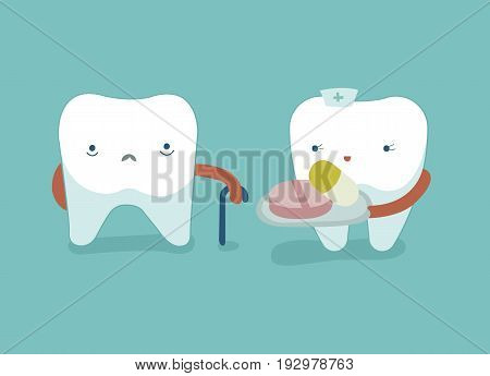 Nurse of tooth give drugs for weak tooth ,teeth and tooth concept of dental