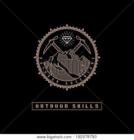 Template design label with gem, mountains and two ice axes in trendy linear style on black background. Vector illustration.