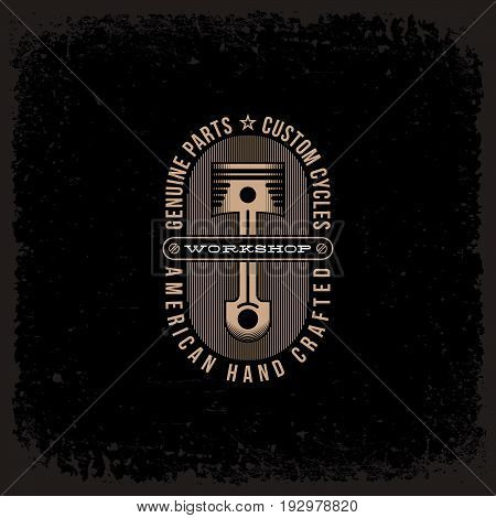 Template design label with piston and strips in trendy linear style on grunge black background. Vector illustration.