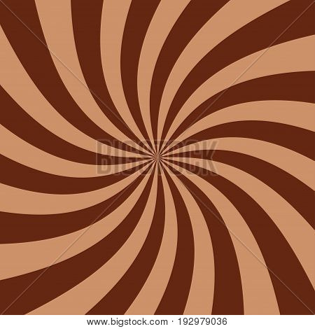 Abstract striped chocolate paste background. Spiral of yogurt. Stock vector
