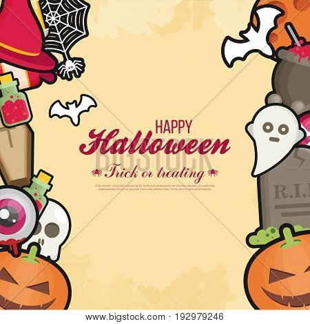 Halloween Concept Banner With Flat Icon Set On Orange Textured Backdrop. Vector Flat Illustration. H