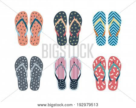 Summer flip flops set isolated on white background. Flip flops with different designs drawn in flat style