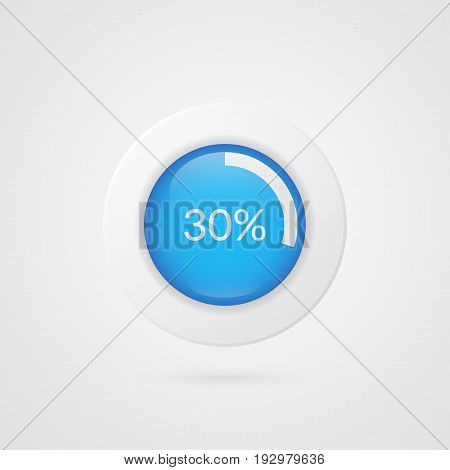30 percent blue white pie chart. Percentage vector infographics. Thirty Circle diagram isolated symbol. Business illustration icon for marketing presentation project data report information plan web design