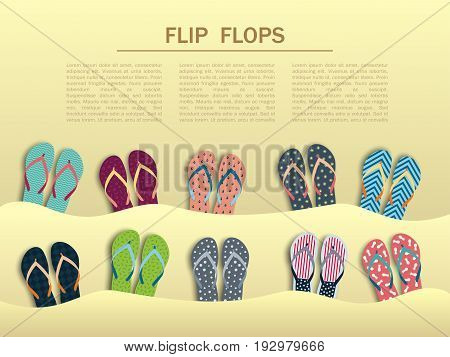 Summer flip flops set, sticking in the sand with the various individual design. Banner with flip flops and with place for text
