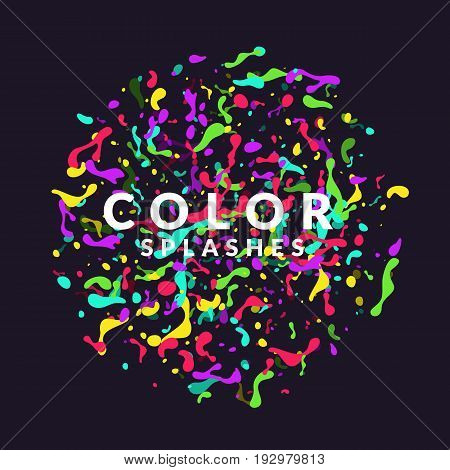 Bright abstract background with explosion of colored splashes. Vector illustration in flat minimalistic style
