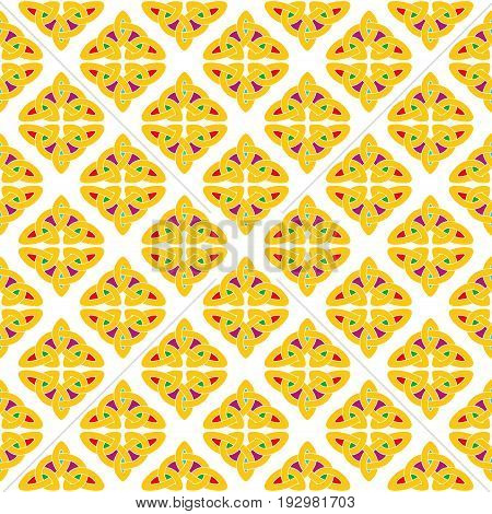 Celtic national seamless ornament interlaced tape. Colorful ornament isolated on white background.