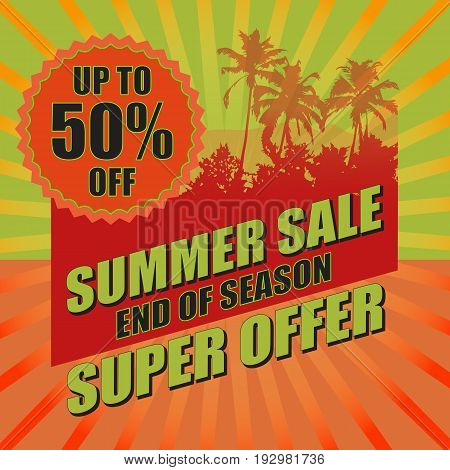 Summer sale background with palm. Vector illustration for banner, poster, flyer, card.  Business seasonal shopping concept.