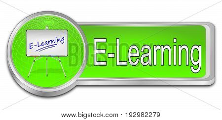 gloosy green E-Learning Button - 3D illustration