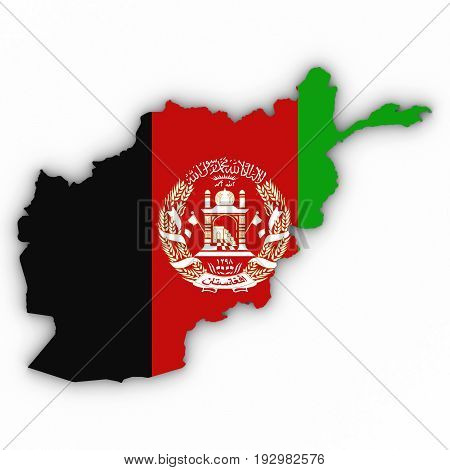 Afghanistan Map Outline With Afghan Flag On White With Shadows 3D Illustration