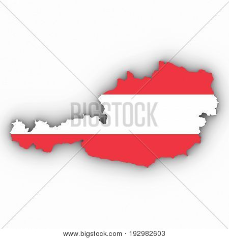 Austria Map Outline With Austrian Flag On White With Shadows 3D Illustration