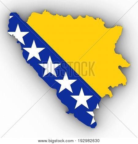 Bosnia And Herzegovina Map Outline With Bosnian Herzegovinian Flag On White With Shadows 3D Illustra