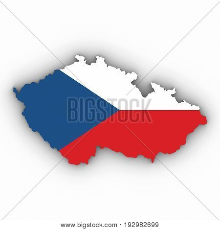 Czech Republic Map Outline With Czech Flag On White With Shadows 3D Illustration