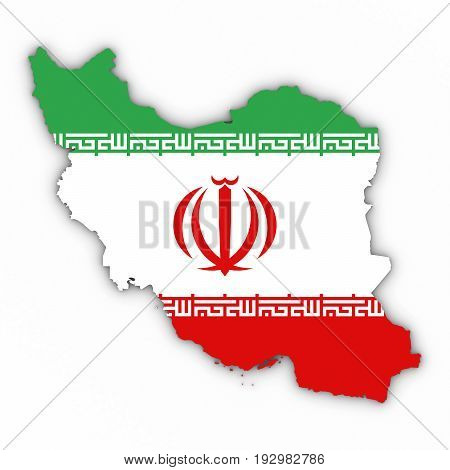 Iran Map Outline With Iranian Flag On White With Shadows 3D Illustration