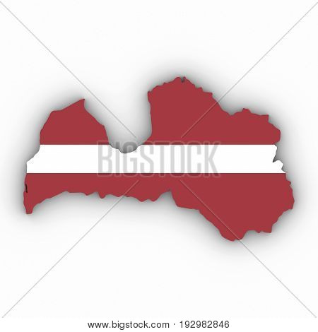 Latvia Map Outline With Latvian Flag On White With Shadows 3D Illustration