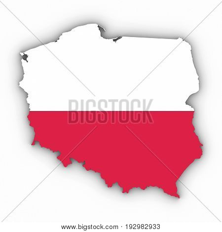 Poland Map Outline With Polish Flag On White With Shadows 3D Illustration