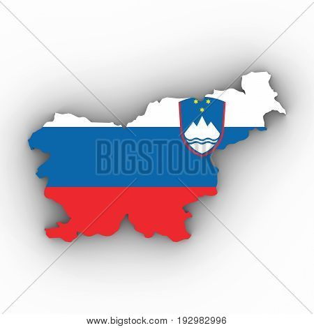 Slovenia Map Outline With Slovenian Flag On White With Shadows 3D Illustration