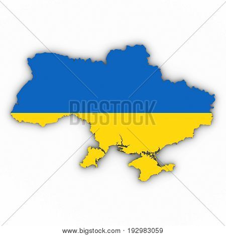 Ukraine Map Outline With Ukrainian Flag On White With Shadows 3D Illustration