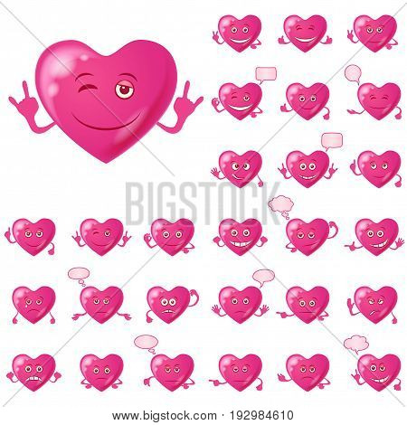 Set of Valentine Hearts Smileys, Love Signs, Symbolizing Various Emotions. Eps10, Contains Transparencies. Vector
