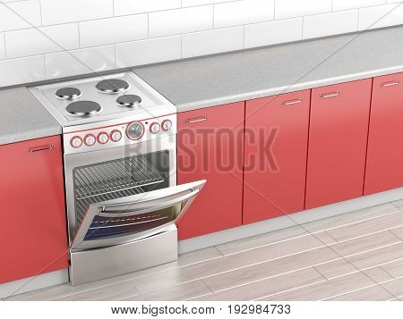 Electric cooker in the kitchen, 3D illustration