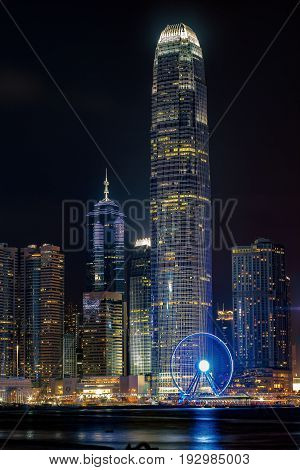 Hong Kong Central district in a nightscape photo