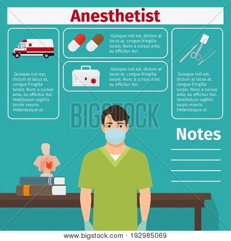 Anesthetist and medical equipment icons with infographics elements for medical and pharmaceutical industry. Vector illustration