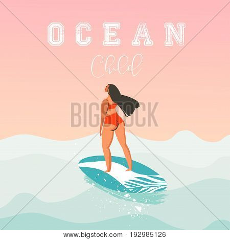 Hand drawn vector abstract cute summer time beach surfer girl illustration with red bikini, surfboard and modern calligraphy quote Ocean child isolated on sunset background