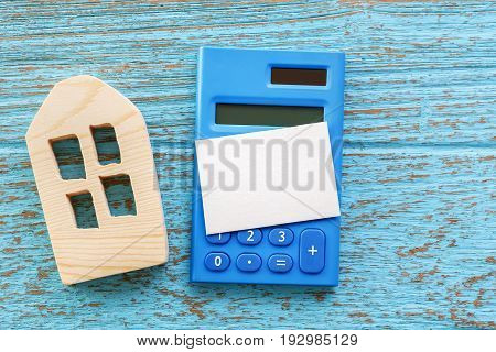 Calculator With House Model And Blank Card