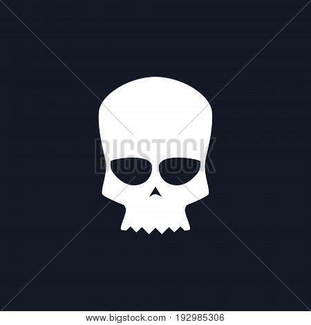 White Biker Skull Isolated Silhouette Skull on Black Background Death's-head Black and White Vector Illustration