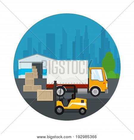 Icon Warehouse and Transport Services Warehouse with Forklift Truck and Lorry on the Background of the City Unloading or Loading of Goods Vector Illustration