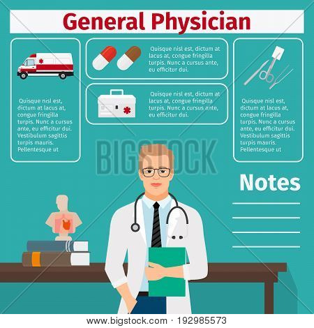 General physician and medical equipment icons with infographics elements for medical and pharmaceutical industry. Vector illustration