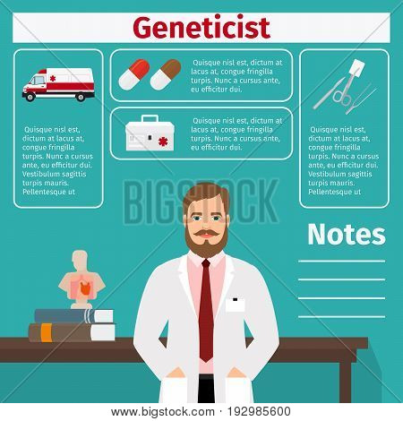 Geneticist and medical equipment icons with infographics elements for medical and pharmaceutical industry. Vector illustration