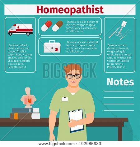 Homeopathist and medical equipment icons with infographics elements for medical and pharmaceutical industry. Vector illustration