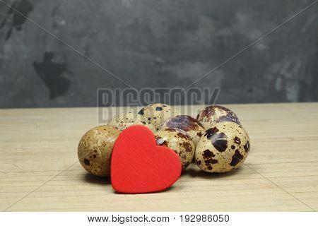 Quail eggs/ Quail eggs with red heart.